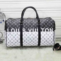 Louis vuitton hot selling fashion men and women printed matching color large capacity luggage bag