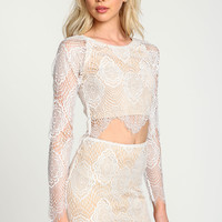 White Vampire Kiss Crop Top