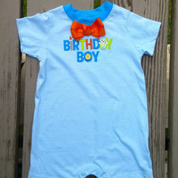 Birthday Boy Baby Outfit - First Birthday, Second Birthday - Bow Tie - Personalized