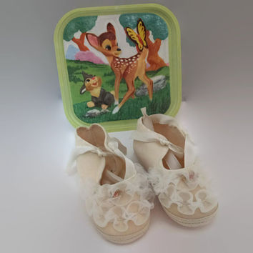 Vintage Disney Baby Shoes with Original Packaging Size 1