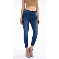 Lifted Ankle Hem Booty Lift Skinnies in Sharp Blue