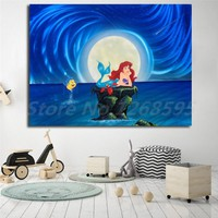 The Little Mermaid Wishing Ariel Wall Art Canvas Poster And Print Canvas Painting Decorative Picture For Living Room Home Decor