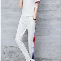 """Champion"" Women Casual Multicolor Stripe Polo Shirt Short Sleeve Trousers Set Two-Piece Sportswear"