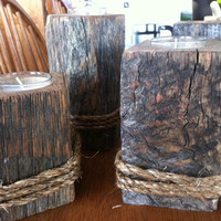 Reclaimed Wood Candle Holder, Set of 3