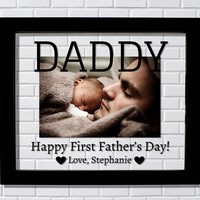 Daddy Floating Picture Frame - First Father's Day - Personalized - Dad Daddy Present Gift