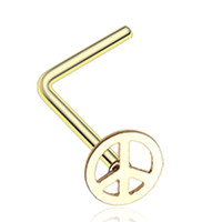 Golden Color Peace Icon L-Shaped Nose Ring - 20 G - Sold as a Pair