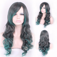 65cm Fashion Sexy Long Curly Wavy Cosplay Tilted Frisette Women Wigs Hair Wig Girl Gift Black Green Ombre
