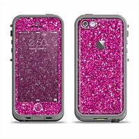 The Bright Pink Glitter Apple iPhone 5c LifeProof Fre Case Skin Set