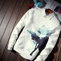 Mens Rose Graphic Pullover Sweater