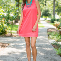 Captivating Class Dress, Coral