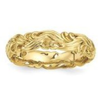 Gold Plated Sterling Silver Carved Band Ring, Size 9