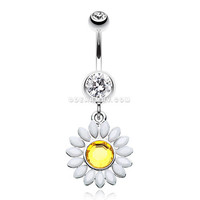 Daisy Marquise Flower Belly Button Ring (Clear)