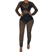 Sexy Black Sheer Mesh Jumpsuit Romper Women Hollow Out Long Sleeve Pearls See Through Clubwear Party Bodycon Jumpsuits Overalls
