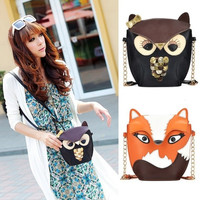Cute Vintage Women Girl Bag PU Leather Cartoon Owl/Fox Small Mini Bag Shoulder Messenger Bag H10202 = 1946130692