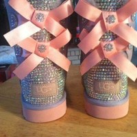 DCCK8X2 Youth Heathered Lilac and Pink Bailey Bow Ugg Boots, Custom Bling!!!