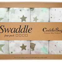 Muslin Baby Swaddle Blankets 4 Pack - CuddleBug 47 inch x 47 inch Large Muslin Swaddles - Best Soft Cotton Muslin Blankets - Best Baby Shower Gift - Perfect for Nursery Sets - Unisex for Boys or Girls - 4 Cute Designs - Lifetime Guarantee! (Stars)
