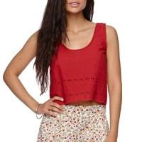 LA Hearts Cropped Scalloped Tank - Womens Shirts - Red - Small