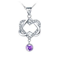 18K White Gold Plated Double Heart Purple Crystal Pendant Necklace