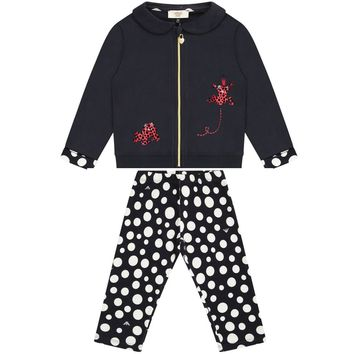 Baby Girls Navy Blue Polka Dot Set