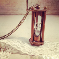 1 pc Vintage Style Sand Timer Hour Glass hourglass Pendant Charm Necklace REALLY WORKS Nautical Antique Bronze Sandtimer Chain INCLUDED