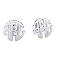 Monogram earrings Personalized Name Silver Earrings, letter earrings initial earring, nameplate earring, bridesmaids gifts