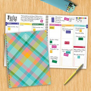 July 2021-June 2022 Pretty Plaid Large Daily Weekly Monthly Planner + Coordinating Planning Stickers