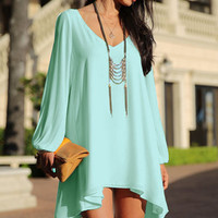 Sapphire Loose Fitting Mini Chiffon Dress with Sleeves Slit