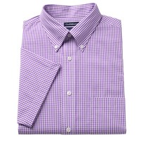 Croft & Barrow Fitted Pinpoint Oxford Checked Button-Down Collar Dress Shirt - Men, Size: