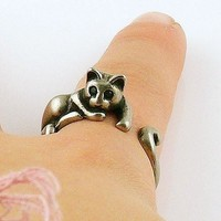 Animal Wrap Ring - Lazy Cat - White Bronze - Adjustable Ring - keja jewelry