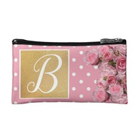 Pink Polkadot and Peonies Cosmetic Bag | Zazzle.co.uk