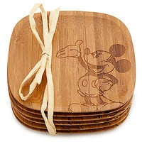 disney parks mickey mouse gourmet coaster set bamboo new with tag