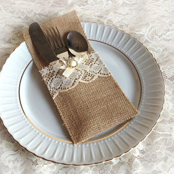 rustic burlap and lace rustic silverware holder, wedding, bridal shower, birthday table decoration