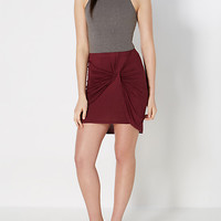 Burgundy Knotted Mini Skirt