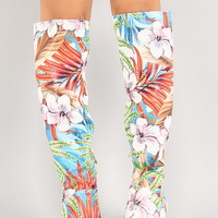 Perforated Tropical Floral Knee High Boot
