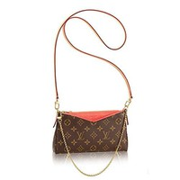 Authentic Louis Vuitton Monogram Canvas Pallas Clutch Handbag Poppy Article: M41733 Made in France
