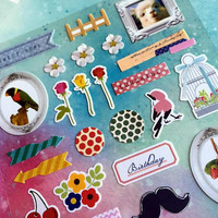 country sticker 2pcs country style birds floral trim sticker gardening label country little thing planner sticker scrapbook craft lover gift