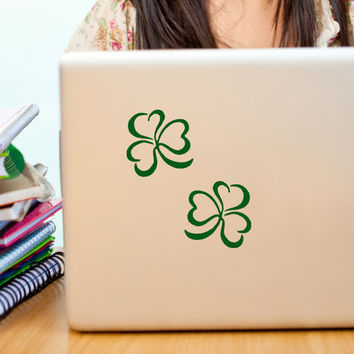St. Patricks Day shamrock four leaf Clover Vinyl decals for your car window, laptop, Irish, Lucky, Ipad, school mascot