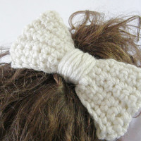 Ivory Crochet Hair Bow Clip Hair Accessory Casual Wedding