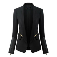 Black Faux Leather Sleeve Zipper Side Lapel Blazer