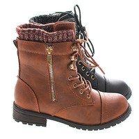 Bally6k by Lucky Top, Young Girl/Children's Military Inspired Tactical Lace Up Combat Boots