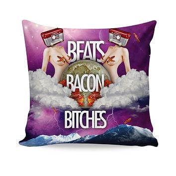 Beats Bacon Bitches Couch Pillow