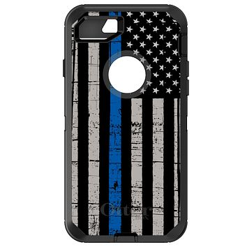 DistinctInk™ OtterBox Defender Series Case for Apple iPhone / Samsung Galaxy / Google Pixel - Weathered Thin Blue Line