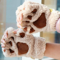 Unique Cute Apparel Accessories Soft Warm Winter Women Gloves  Mittens Fingerless Fluffy Bear Plush Paw  Chic Animal  Style