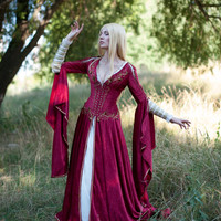 FREE SHIPPING  Medieval Fantasy Crimson Dress made to order