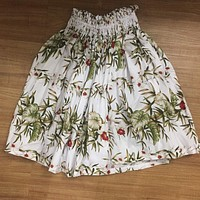 Hula Pa'u Skirt with Green Monstera and Red Floral Print