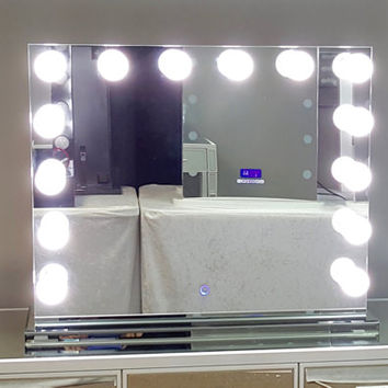 XL Dimmable Frameless Hollywood Lighted Vanity Mirror w/ Dual Outlets
