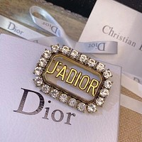 Dior CD vintage ladies bronze metal rhinestone pearl letter brooch pin