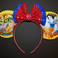 """Handmade """"Snow White & the 7 Dwarfs Scenes on Yellow"""" Custom Mouse Ears inspired by Disney"""