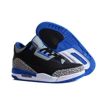 Air Jordan 3 Retro AJ3 Black/Royal Blue Men Basketball Sneaker US8-13