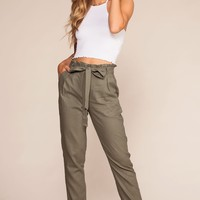 Evening Breeze Paperbag High Waisted Pants - Olive